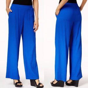 JM Collection blue crinkle wide leg pants Sz large